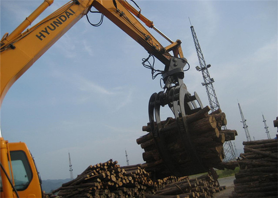 Chiny 360 Degree Rotating Wood Grapple Attachment For Excavator Komatsu PC200 dostawca